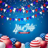 4 de julho dia da independência da ilustração vetorial de EUA. 4 de julho americano nacional celebração Design