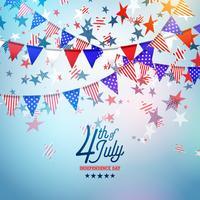 4 de julho dia da independência da ilustração vetorial de EUA. 4 de julho americano nacional celebração Design com bandeira e estrelas em azul e branco fundo de confete