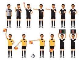 Conjunto de caracteres de árbitro de futebol. vetor