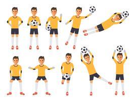 Jogadores de futebol, goleiro de futebol em ações. vetor