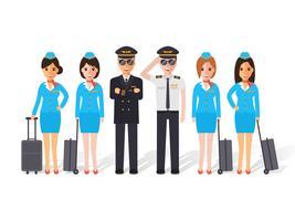 Pilotos e comissários de bordo.