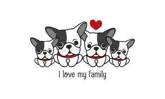 """A família de cão feliz bonito diz que """"eu amo minha família""""."""