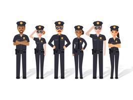 Homens e mulheres da polícia. vetor