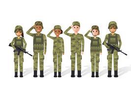 Povo militar. vetor