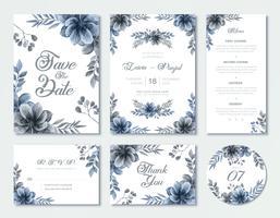 Conjunto de modelo de cartão de convite de casamento azul de flores em aquarela
