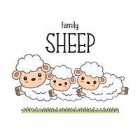 Família de ovelhas felizes. Mamãe papai e bebê ovelhas dos desenhos animados. vetor