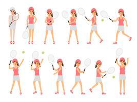 Jogadores de tênis, atletas de tênis esportivos em ações. vetor