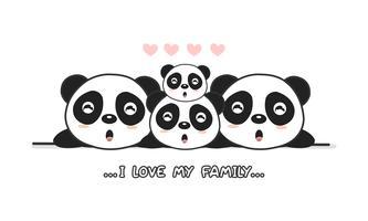 """A família feliz bonito do panda diz """"eu amo minha família""""."""