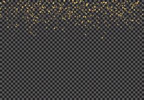 Efeito de queda das partículas do brilho do ouro no fundo transparente.