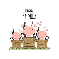 Família de vaca fofa Pai mãe e bebê.