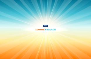O sol da manhã brilha no céu em férias de verão. Na temporada de viagens vetor