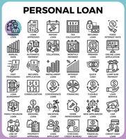 Ícones de empréstimo pessoal vetor
