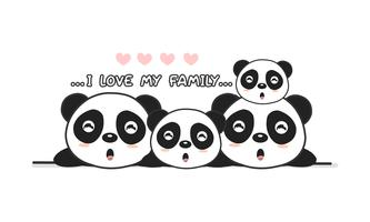 """A família feliz bonito do panda diz """"eu amo minha família"""". vetor"""