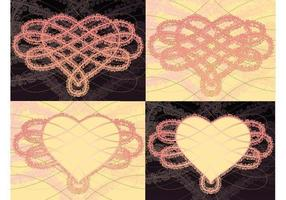 Pacote de papel de parede de vetor de nó de coração de rosa