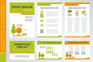 Capa de folha A4 e modelo de apresentação no tema verde vetor