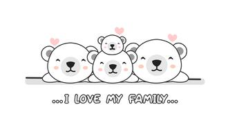 """A família feliz bonito do urso polar diz """"eu amo minha família"""". vetor"""