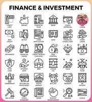 Finanças e investimento conceito linha ícone vetor