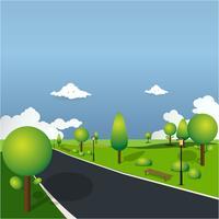 Natureza em um belo parque urbano. Banco de parque da cidade com fundo verde da árvore. exercitar e relaxar vetor