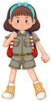 Cute girl scout com bandana vetor
