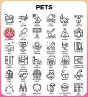 Ícones de linha detalhada de conceito de animais de estimação vetor