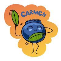 Caricatura, vetorial, ilustração, de, engraçado, mirtilo, fruta berry, alimento, cômico, personagem, carmen, dança vetor