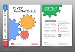 Cobre o vetor do molde do projeto do livro, conceitos gráficos da informação das engrenagens.