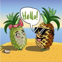 De fundo Vector com abacaxis engraçados em óculos e texto Olá. Modelo de convite com personagens de desenhos animados sorridentes fofos.