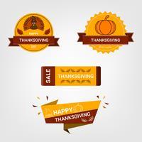 Decoração do dia de ação de Graças que rotula o projeto do crachá do invintation. Feliz festa de ação de Graças.