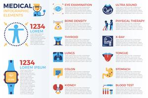 Elementos de infográfico médicos vetor