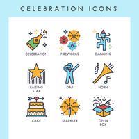 Celebração, ícones vetor