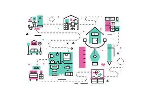 Ilustração de ícones de linha interior em casa