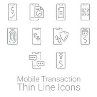 Conjunto de transação de smartphone e atividades ícones. Ícones de finanças pessoais e empresariais.