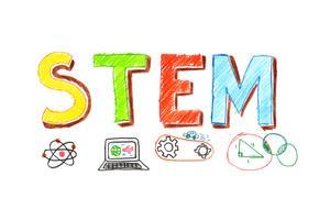 Ilustração, de, palavra STEM, bandeira