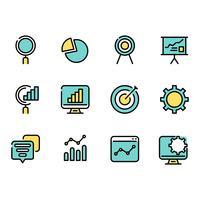 Grupo simples de ícones finos da informação de dados do negócio do esboço para a Web. vetor