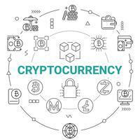 Criptomoeda com tecnologia de rede Blockchain. Conceito de dinheiro digital. vetor