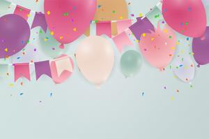 Aniversário ou feliz aniversário cartão celebração fundo com balões. Ilustração. vetor