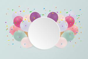 Cartão de feliz aniversário com balões coloridos pastel. Ilustração vetorial copie o espaço. vetor