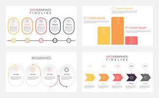 Conjunto de modelos de infográfico de negócios com 4 etapas, processos, opções. Linha do tempo infographic moderna abstrata.