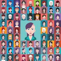 Conjunto de avatares de pessoas com planos de fundo