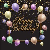 Fundo de aniversário com balões e confetes vetor