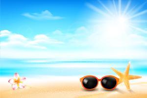 Peixe estrela de óculos de sol e flor na praia de areia 001 vetor