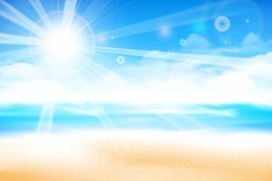 A praia ao longo do fundo do céu azul borrão 001 vetor