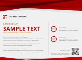 Layout de modelo abstrato tecnologia triângulos cor vermelha sobreposição cabeçalho e rodapé em fundo branco