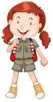 Um, vermelho, haired, menina, escoteiro, personagem