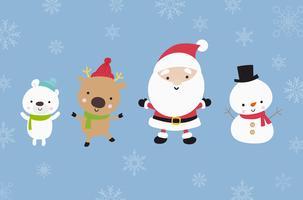 Boneco de neve bonito Papai Noel e animal cartoon felicidade na neve 002 vetor