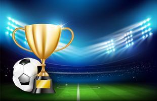 Taças de troféu de ouro e bola de futebol 001