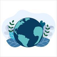 Salve o planeta Terra. Conceito de dia do meio ambiente. ecologia eco amigável. Licença verde natural no globo da terra. vetor
