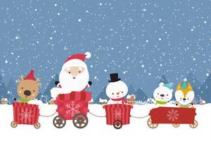 Feliz Natal Boneco de neve de Papai Noel bonito dos desenhos animados no carrinho 001 vetor