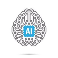 AI inteligência artificial tecnologia circuito cérebro símbolo ícone vetor
