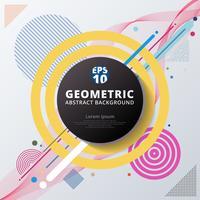 Projeto e fundo geométricos coloridos abstratos do teste padrão do círculo de cor. Use para design moderno, capa, cartaz, modelo, decorado, brochura